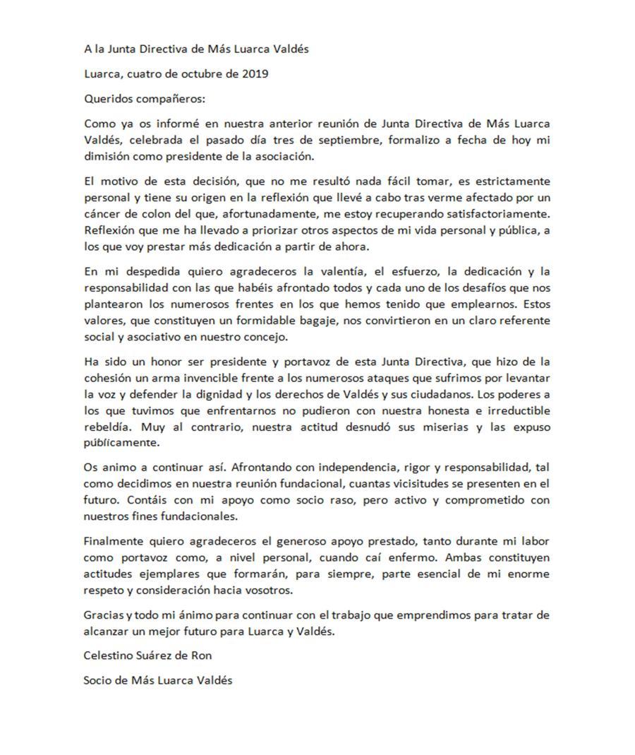Carta dimision Tino Ron